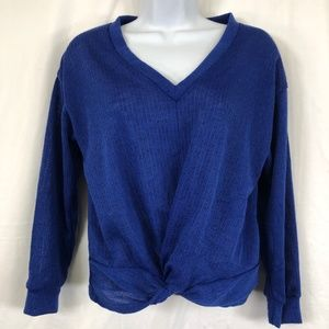 Lush Blue Twisted Front Sweater